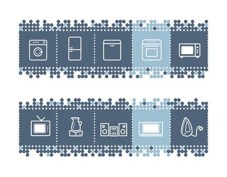 household appliances: blue dots bar with household appliances icons