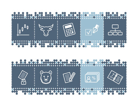 Blue dots bar with invest icons Vector