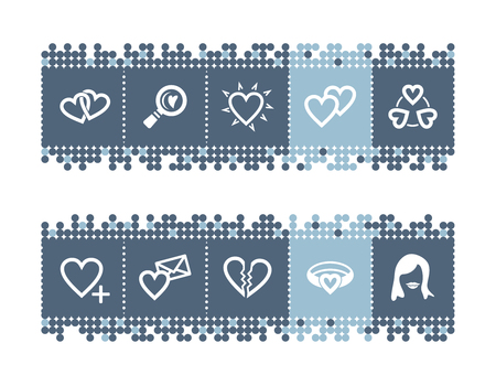 Blue dots bar with love icons Vector