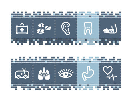 Blue dots bar with medicine icons Stock Vector - 3640799
