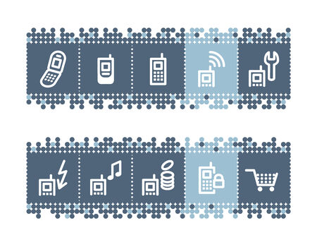 prepaid: Blue dots bar with mobile phone service icons