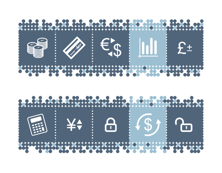 blue dots bar with money icons Vector