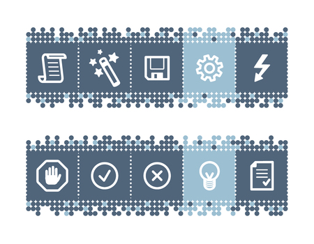 Blue dots bar with script icons Vector