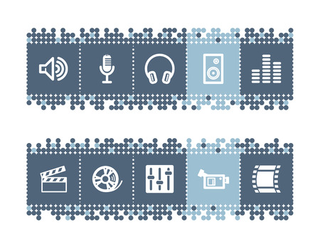 Blue dots bar with sound and cinema icons Vector