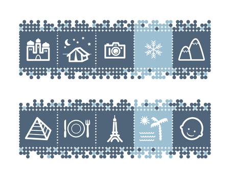 Blue dots bar with tourist guide icons Vector