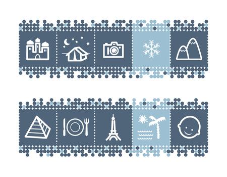 guia turistica: Puntos azules barra de iconos con gu�a tur�stica Vectores