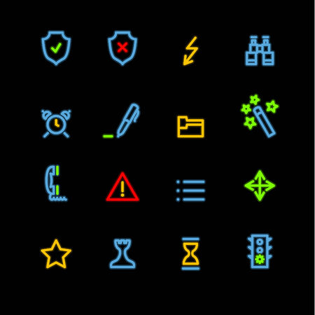 neon administration icons Vector