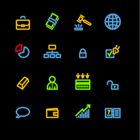 neon business icons Vector