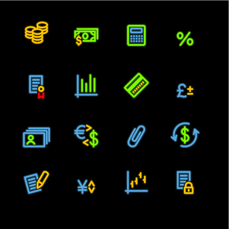 neon finance icons Vector