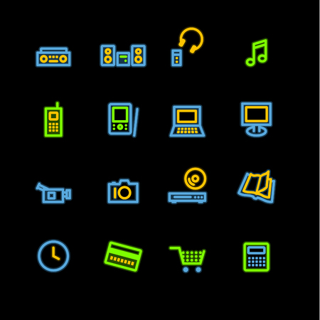 dvd player: neon home electronics icons Illustration