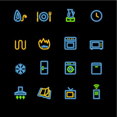 household appliances: neon household appliances icons