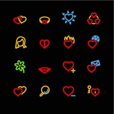 neon love icons Vector