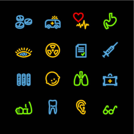 squirt: neon medicine icons Illustration
