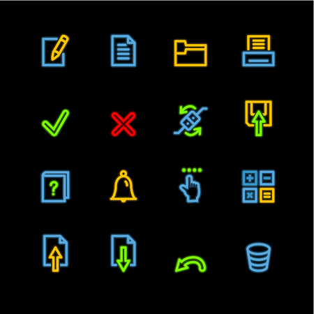 neon notebook icons Vector