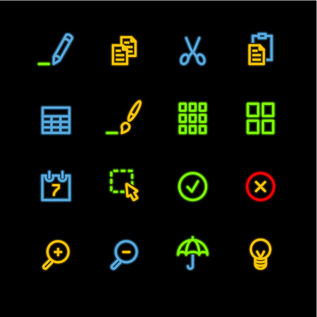 thumbnails: neon publish icons Illustration