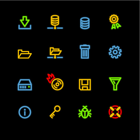 neon server icons Stock Vector - 3644582
