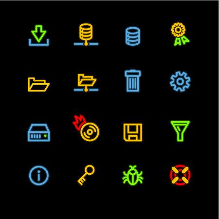 fdd: neon server icons Illustration
