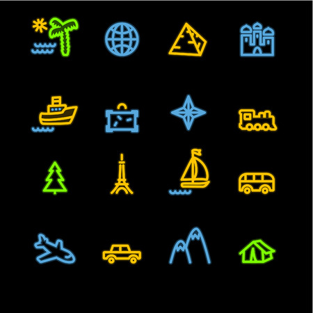 neon travel icons Stock Vector - 3644586