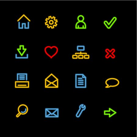 neon basic web icons Vector