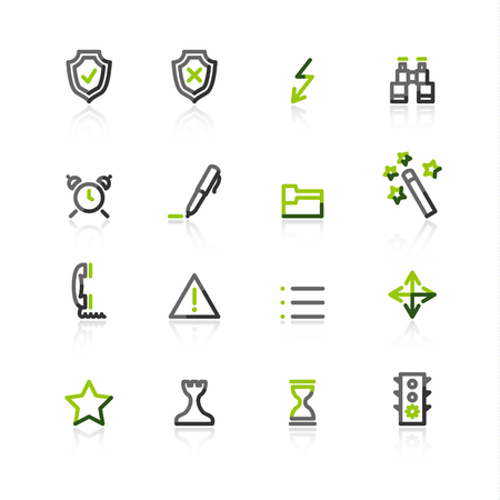 Green-gray contour admin icons Vector