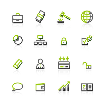 green-gray business icons Vector