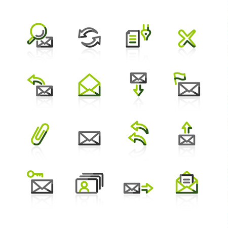 delete icon: green-gray e-mail icons Illustration
