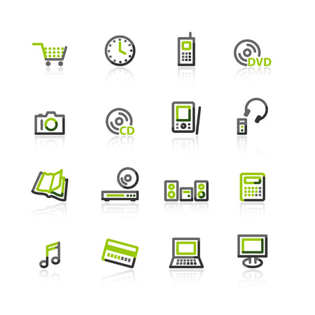 green-gray e-shop icons Stock Vector - 3644576