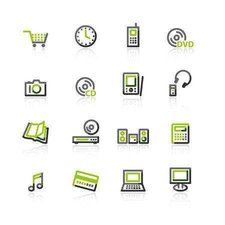 agenda electr�nica: verde-gris-shop e iconos