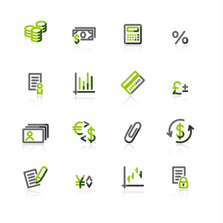 green-gray finance icons Vector