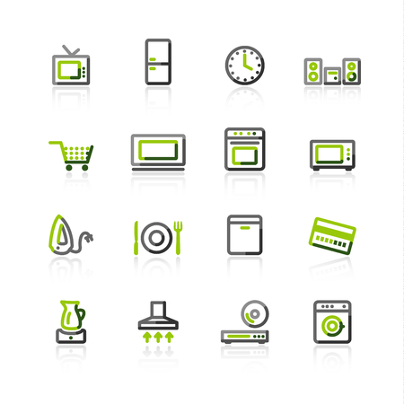 green-gray household appliances icons Vector