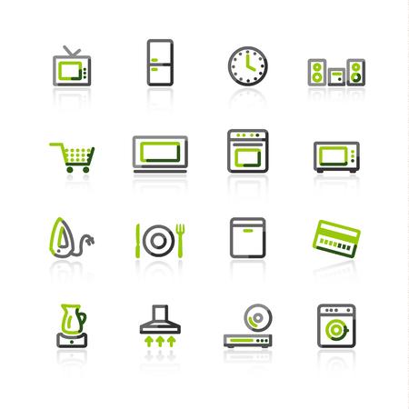 green-gray household appliances icons Stock Vector - 3644598