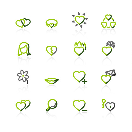 green-gray love icons Vector
