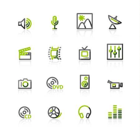 green-gray media icons