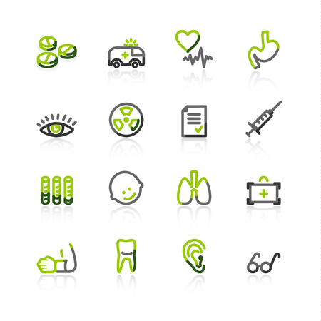 green-gray medicine icons Vector