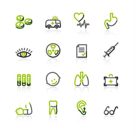 green-gray medicine icons Vector