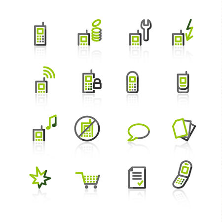 green-gray mobile phone icons Stock Vector - 3644574