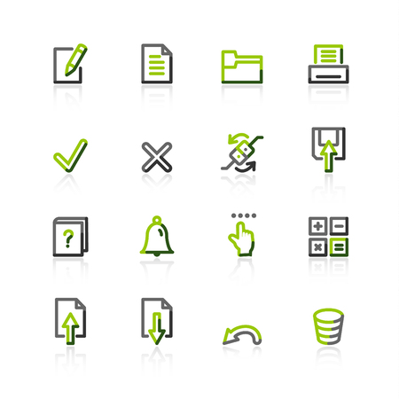 green-gray notebook icons Vector