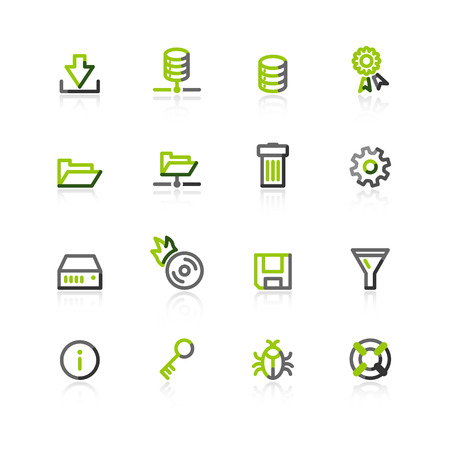 storage bin: green-gray server icons