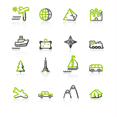 green-gray travel icons Vector