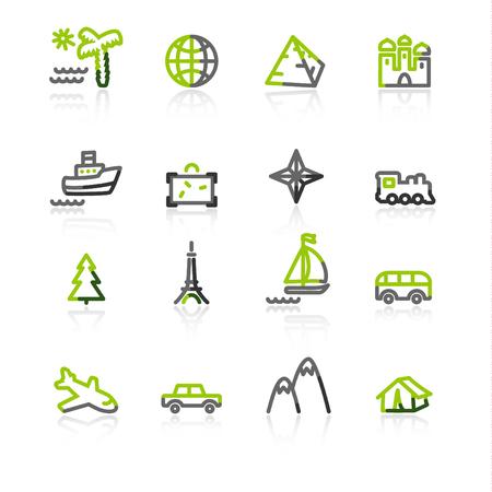 green-gray travel icons Stock Vector - 3644602