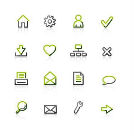webmail: green-gray web icons
