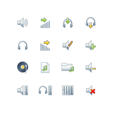 project audio icons Stock Vector - 3644609
