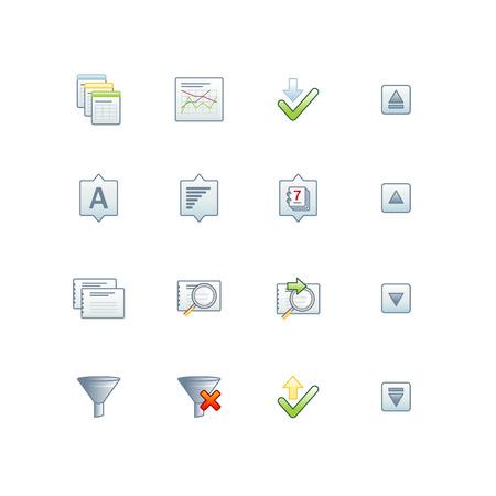 ソート: プロジェクト データベース アイコン 2  イラスト・ベクター素材