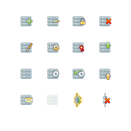 project servers icons Vector