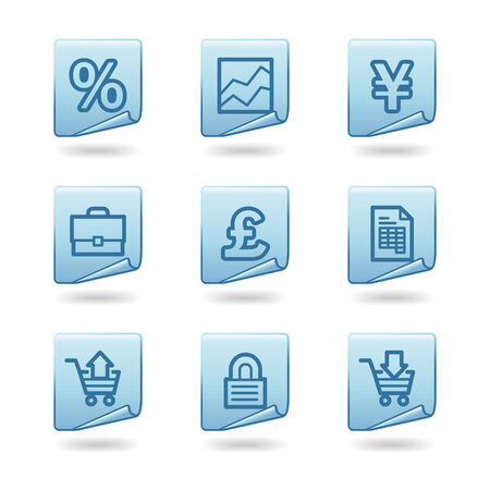 Business icons, blue sticker series Vector