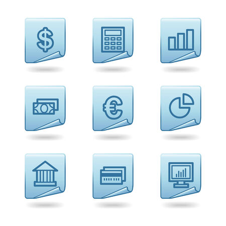 Finance icons, blue sticker series Vector