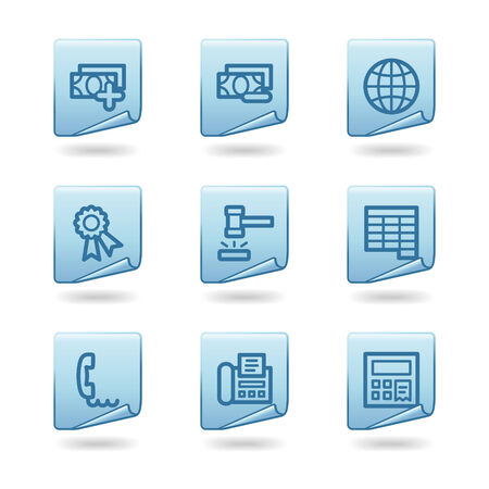 Finance 2 icons, blue sticker series Stock Vector - 3678225