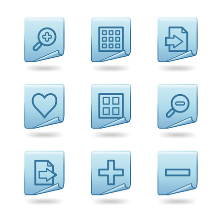 Image viewer icons, blue sticker series Stock Vector - 3678211