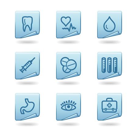 Medicine icons, blue sticker series Stock Vector - 3678224