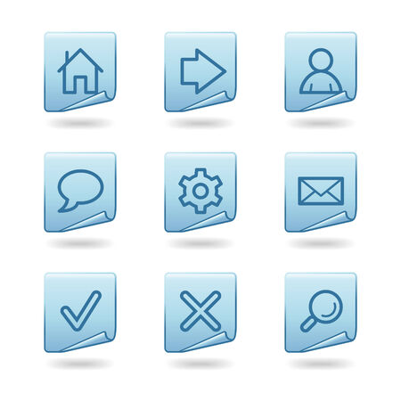 Web icons, blue sticker series Vector